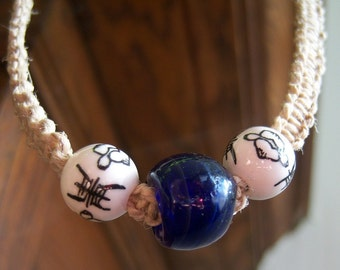 Glass and Chinese-Style Ceramic Beads on Natural Hemp