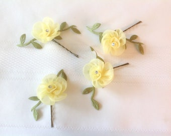 Flower Girl Hair Pins Wedding Hair Accessory 2 Flower Hair Pins Bridal Hair Pins Prom Hair Pins - Set of 2 - Ready to Ship!