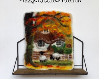 Cottage wool painting, needle felted wall hanging, needle felted cottage wool painting, English Cottage, Autumn countryside, Sheep Farm