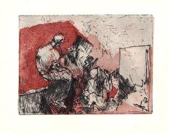 Bahned – small print etching, miniature, School days, art class