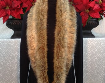 "Raccoon 64"" Fancy Faux Fur Infinity Scarf/Machine Wash-Dry/Warm-Cozy-Luxurious-Versatile/Perfect Gift for Her/Gift-Ready Box/Ready to Ship!"
