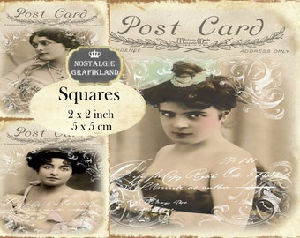French Ladies Old Photos Girls Ephemera Postcards Vintage 2x2 inch squares Instant Download digital collage sheet TW160