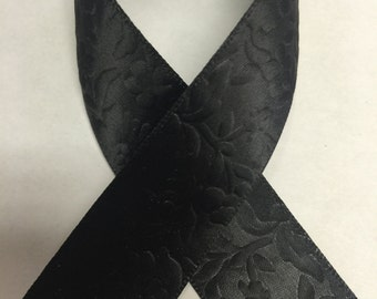 "7/8"" FLORAL PRINT EMBOSSED Satin - Black - Beautiful Elegant Ribbon"