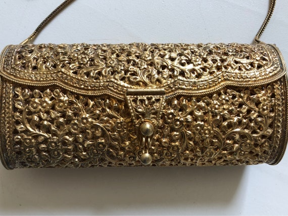 Sterling Silver Gilded Indian Repousse Clutch Purse