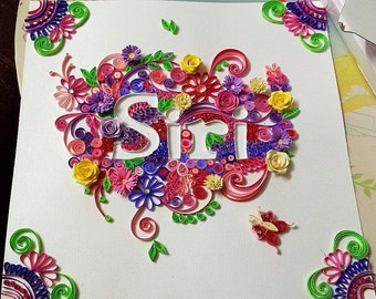 Custom Quilled name art 12x12 size