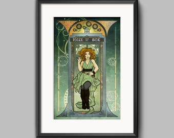 River Song Doctor Who Art Nouveau inspired print
