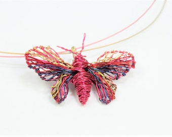Wire wrapped, butterfly pendant, butterfly necklace, modern hippie, insect art, cute, pink necklace, Summer, romantic, birthday gift for her