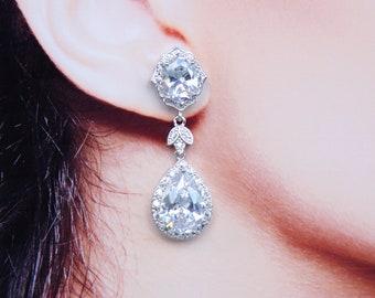 Bridal Earrings Pear Drop Art Deco Leaf Cocktail Earrings