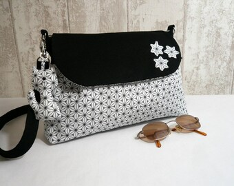 "Small shoulder bag in black and white cotton ""Fuji"""