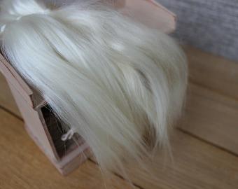 """Mohair doll hair 7-10"""" 10 gr Doll Hair Combed Mohair 7-9 in off White/cream organic mohair locks angora Goat Reroot Reborn Blythe Bjd Bullip"""