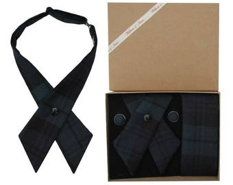 Pure Wool Black Watch Tartan Crossover Tie & Boxed Gift Set