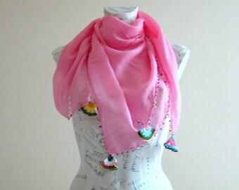 Summer scarf square cotton scarf cotton bandana head scarf pink scarf pareo wrap beach pareo cotton pareo summer scarfs scarf for summer
