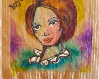 Art Journal Page, Journal Insert,  Watercolor Page, Teabag Art, Miniature Art, Mixed Media Art, Junk Journal Page, Contemporary Women, 2