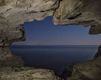 Sea Cave at Night Print