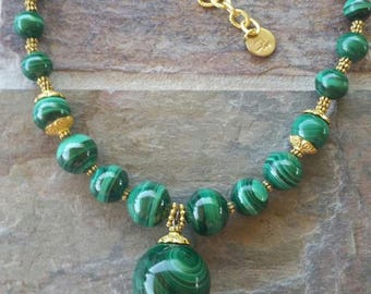 Malachite necklace, Statement Necklace, Gold tone malachite Gemstone, Big Bold Chunky Necklace, Gold filled, and gold plated materials