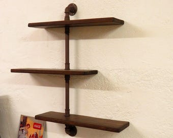 Wooden shelves with hydraulic tubes