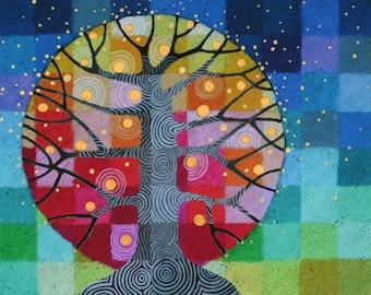 LARGE Tree and Stars art print, rainbow geometric tree and sky with handpainted details