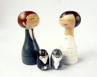 Custom wedding cake topper with two pets Personalized FREE SHIPPING Custom asian bride groom fiance cat dog white black