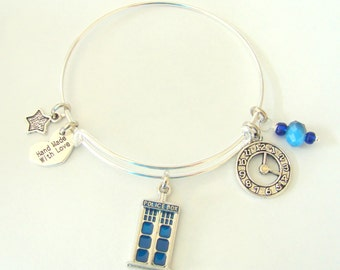 Dr. Who Expandable Wire Bangle Bracelet by EverTrend, Stackable Bangle Bracelet
