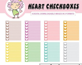 50%off To Do Lists, Digital Planner Stickers, Heart Checkboxes, Checklists, Checkboxes, Digital Stickers for use with digital planning