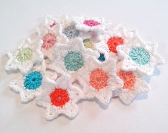 Set 18 Crochet Stars Appliques Pastel Stars Crochet Applique Set of 16 Pz Crochet  Stars  Crochet Scrapbooking Crochet Applique stars thread