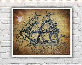 ship art - prints - nautical wall decor - sailing ship print - illustration