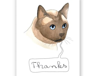 Thanks Siamese Cat Card