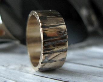 Mens Wedding Band 14k Gold Bark Mens Wedding Ring Viking Wedding Ring Unique Mens Wedding Band Rustic Mens Wedding Bands Mens Wedding Rings