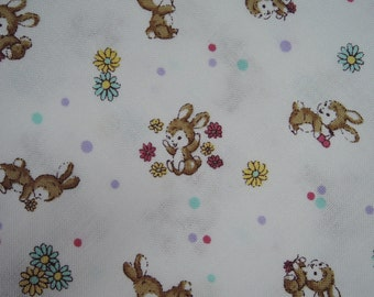 """Fat Quarter of Yuwa Sunday 9am Tiny Bunnies, Daisies and Dots Fabric on White Background. Approx. 18"""" x 22"""