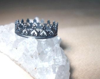 Crown ring, Sterling silver crown, princess ring, Sterling Silver stacking rings, Oxidized Crown ring, black crown ring, blackened ring