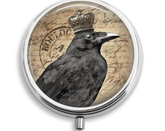 Pill Box Pill Case Crown Crow  Sepia Pill Holder Pill Container Trinket Box PillBox Vitamin Holder Medicine Box Mint Tin Gifts For Her