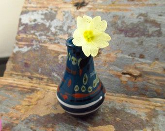 Blue Mini Glass Vase - Hand Flameworked in Wales - Glass Home Decor - Glass Flower Vase - Lampwork Vase