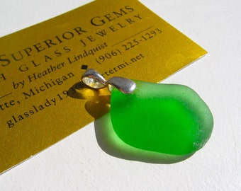 Sweet Green  Real Lake Superior Beach Glass Pendant Necklace