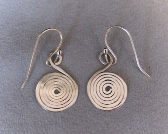 Hammered Spiral Earrings, Sterling Silver