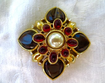 Maltese Cross Brooch Joan Rivers, Heraldic Jewelry, Vintage Malta Cross Designer Signed Jewelry