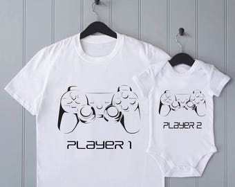 Playstation parent baby matching Tshirt bodysuit set - baby shower gift, fathers day, player 1, player 2, baby vest, baby onesie, daddy gift