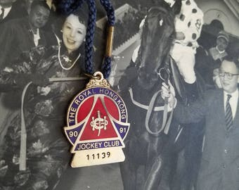 All Original Dinesh & Co. Bombay Medallion from The Royal Hong Kong Jockey Club Enamel Ladies Brooch Bracelet 1986