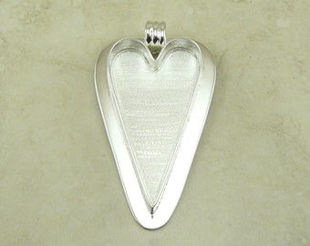 1 Extra Large Heart Shaped Pendant Bezel Blank > Photo Jewelry, Mixed Media, Ephemera and Assemblage - Silver Plated Brass