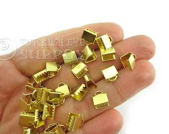 50 Mini Raw Brass 7x6mm Ribbon Crimp Ends with Loop, Fasteners Clasp Findings, Ribbon Ends Clamps, Raw Brass Findings EK233