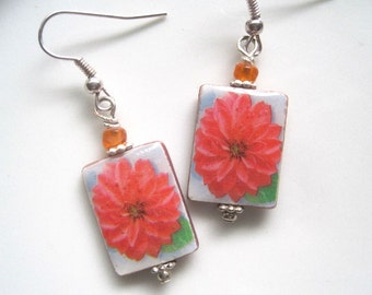 Red Dahlias. Mother of Pearl Shell Earrings. Handmade.