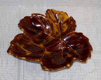 Leaf Bowl | Leaf Dish | Handmade Ceramic Leaf Bowl | Brown Leaf Dish | Autumn Leaf Dish | Leaf Relish Dish