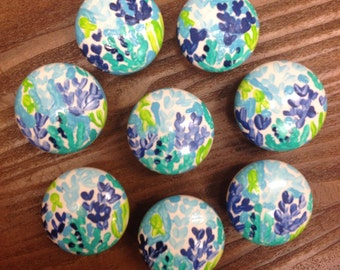 Lilly Pulitzer Painted Inspired Drawer Knob Pull Custom Preppy Room Decor Lilly Housewares