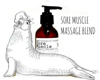 Organic Sore Muscle Rub - Sore Muscle Blend - Natural Massage Oil - Tired Muscle Massage - Organic Massage Therapy - Organic Massage Oil