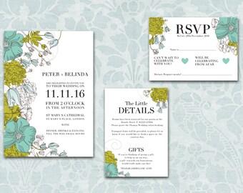 Vintage Floral Wedding Stationery - Botanical Invitation - Spring Wedding - Garden Party Wedding - Outdoor Wedding