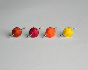Crochet Hook Earrings, Yarn Ball, Crochet Gift, Mini Hook, Crochet Jewelry, Silver Stud, Post, Fall Jewelry, Burgundy, Orange, Brown, Yellow