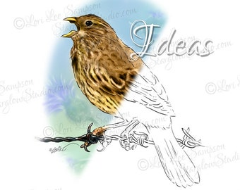 Bird on Barbed Wire Digital Stamp: Digital Download Illustration, Bird Stamp Drawing, Scrapbook Paper Crafting Supply, Clipart, DigiStamp