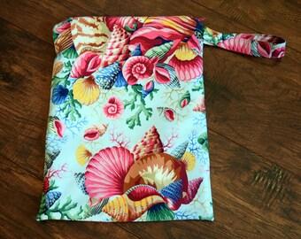 Seashells Wet Bag~Shell Bouquet, Bikini Bag, Baby, Travel, Personal, PUL Bag, Swim, Beach Bag~Resuseable Bag