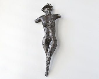 Sexy nude, metal torso, wire mesh sculpture, abstract torso, metal wall art sculpture, metal sculpture