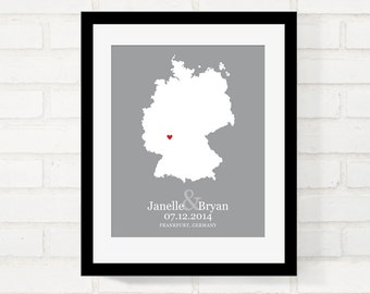 Germany Map Wedding Gifts, Personalized Wedding Country, Custom Country  Map Print, First Year Anniversary, Long Distance, German bride