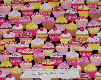 Pink Yellow Brown Packed Cupcake Fabric - Timeless Treasures Cotton Quilting Yd